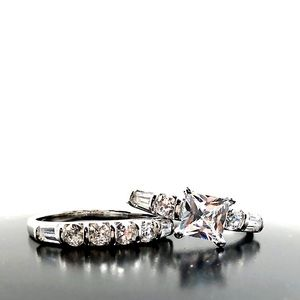 Jewelry - Silver Plated CZ Engagement Ring Set